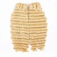 Ham Hint Bakire Saç Çift Atkı Sarışın Derin Dalga Kıvırcık 613 # Üç Paketler 100% İnsan Saç Uzantıları 10-28 inç