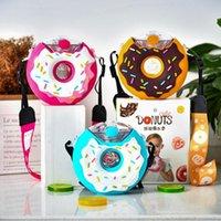 380ml Donut Stil sapanlar Taşınabilir Spor Multi Su Kupası Yaratıcı Straw Kupası Childen Plastik Kettle Su Drinkware HA1371 Şişe