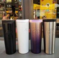 La dernière tasse en acier inoxydable de 16 oz Starbucks Thermos Thermos Cup 14 styles Spirale Gradient Coupe de bureau Tasse à café Support Logo Personnalisé, Livraison Gratuite