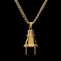 14k de ouro banhado mens hip hop iluminação plugue pingente colar com 70 cm longa link cubano corrente homens jóias