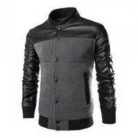 Jaquetas masculinas de couro PU patchwork patchwork stands casacos masculinos outerwear Casual Slim Fit Mens Botão Botão Windbreaker Baseball Jacket1
