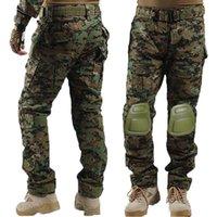 Pantalones al aire libre Multicam Camuflaje Táctico Ejército Uniforme Pantalón Senderismo Paintball Combate Cargo con rodilla Pad