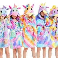 Accappatoi Flanella Cappuccio Asciugamano Kigurumi Unicorn animali delle ragazze dei ragazzi degli indumenti Tutina pigiami per bambini Robes bambini Vestaglie
