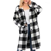 Femmes Vestes Cardigan Manteaux Automne et hiver Mode Plaid Cardigan Button Blouse Blouse en vrac Lampe à manches longues Veste de poche Femme 20201