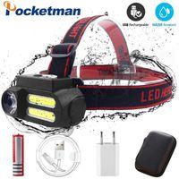 LED-Scheinwerfer-Arbeitslicht wasserdichte Portabl-Arbeitsscheinwerfer XPE + 2 * COB-Kopf-Licht USB-Wiederaufladbare Kopflaterne am besten für Camping1