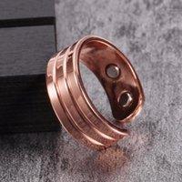 Clusterringe vinterly Pure Kupfer Magnetischer Ring für Frauen Trendy Engagement Hochzeit Männer Öffnen Manschette Einstellbare Finger Men1