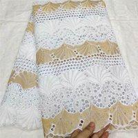 2020 Haute Qualité africaine Net dentelle Tissu 100% coton broderie française suisse punch dentelle de coton voile blanc Tissus 5Y! TL30905