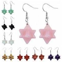 Dangle Chandelier Natural Stone Hexagram Merkaba Orecchini Guarigione Crystal Star Gancio a goccia per le donne Charms Gioielli1