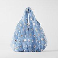 2021 estate nuova maglia ricamo piccola margherita da donna borsa carina shopping bag grande tote bag fiori borse a tracolla blu