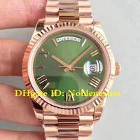 18 스타일 망 날짜 시계 40mm 로즈 골드 그린 다이얼 초콜릿 CAL.3255 무브먼트 슈퍼 품질 ETA 자동 남성용 시계