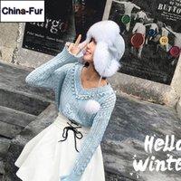 Mütze / Schädelkappen Russland Frauen Stil Winter Echt Echt Pelz Hut 100% Natürliche Ohren Kappe Warme Weiche Bomber Hüte1
