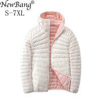 NewBang 6XL 7XL Wendedaunenmantel Frauen Ultra Light Daunenjacke Federjacke Frauen Reise-Double Side Jacken Plus-201103