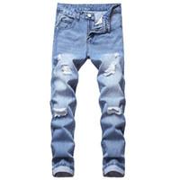 Мужские джинсы плюс размер 28-42 брюки классические новые моды рваные джинсы джинсовые пэчворки полые напечатанные штаны