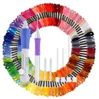 100 ماكينة التطريز الخيط عبر الابره موضوع مع ماجيك التطريز القلم لكمة إبرة كيت لسلسلة سوار الصداقة