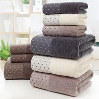 El nuevo algodón toalla de baño Set de baño 2 toallas de mano Cara 1 toalla de baño Toalla Adulto Blanco Marrón Gris Terry paño de Viajes Deporte