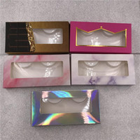 Rectangle False Eyelashes Case Pink Marble Holographic Color...