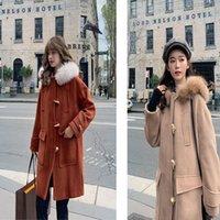 새로운 솔리드 두꺼운 모직 숙녀 재킷 겨울 중간 길이 경적 단추 플러스 코튼 후드 똑 바른 패션 양모 코트 여성 긴