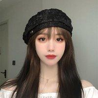 디자이너 여성을위한 Pleated 레이스 베레모 모자 M 프렌치 봄 여름 화가 8 각형 모자 솔리드 컬러