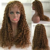 24inch 180% Dichte Honey Blonde Menschenhaar-Perücken Glueless 5x5 Silk Basis Scalp Top-Perücke für Frauen Remy mongolische Haar PU lockige Perücke