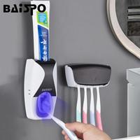 Conjunto acessório de banho Baispo Automático Dentífrico Dispensador Montagem de parede à prova de poeira Toothbrush Suporte de escova de armazenamento Acessórios para banheiro