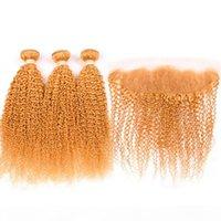 Silanda Hair Pure Narande Coloreed Kinky Remy Remy Pelo humano Paquetes de tejido 3 tejidos con el cierre frontal de encaje de 13x4 envío gratis