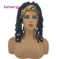 Bandeau synthétique Perruque 10 pouces Noir Dreadlocks Cheveux Coloré Turban Wrap pour femmes africaines