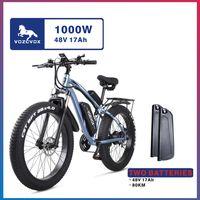 VOZCVOX VX02S دراجة كهربائية 1000 واط 26 * 4.0 الدهون الإطارات 48V17AH الدراجة الجبلية الدراجة الثلوج دراجة ebike، عبر البلاد الكبار الدراجة الدهون