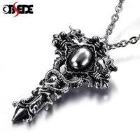 Ожерелья кулон Одержка Панк-титановый сталь Креста Драконы обернуты вокруг меча средневекового ренессанса Независимое ожерелье для мужчин цепь подарок1