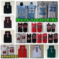 Vintage Erkek Gençlik Çocuklar Klasik Mesh 1 Derrick Rose Chicagoan Basketbol Forması Otantik Dikişli 23 Kuzey Carolina Michael Retro Jersey