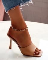 2021 Платформа Clear Slides Женщины Высокие каблуки Сандалии Роскошный Дизайн Тапочка Квадрат Peep Toe Белые Обувь Zapatos Mujer