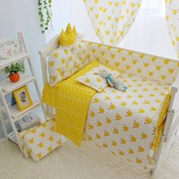 침구 세트 소녀 또는 소년, 탈착식 cot 이불 베개 장착 시트, 침대에서 태어난 침대를위한 고품질 크라운 아기 침대