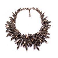 Novo design declaração vintage gargantilha colar para mulheres moda liga de folha chunky colares collier femme jóias