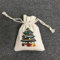 الرباط عيد الميلاد سانتا حقيبة مع الرنة ثلج عيد الميلاد الجورب الطباعة قماش سانت أكياس حلوى عيد الميلاد هدية حقيبة OOE2697
