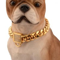 Pet Dog Chains Durable Thickness Gold Stainless Training Wal...