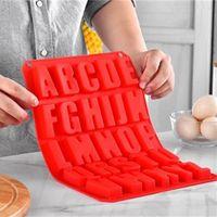 Bolo Decoração Alfabeto Molde de Chocolate Cookies Gelo Moldes Red Retângulo Molds Silicone Cozinha Reutilizável DIY 9 42XT G2