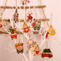 6PCS Cute Christmas Painted Wooden Pendant DIY Angel Snowman...