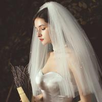 Schöne Perle Multi-Layer-Maske Braut Schleier Shampo Modellierung Hochzeitskleid Kurzer Schleier Schleier Hochzeitsreisen Foto Heirwears
