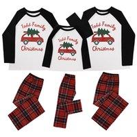 Padre-hijo Diseño de Navidad Navidad de la familia pijamas a juego de manga larga Tops pantalones a cuadros Dos adultos pedazo de la ropa de los niños traje E110203
