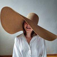 المرأة طوي قبعة المتضخم 70CM كبيرة قطرها حافة شمس الصيف القبعات الشاطئ الجملة 201013
