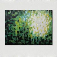 Spedizione gratuita a mano verde diamanti astratto coltello pittura a olio su tela decorazione della casa per soggiorno arte della parete immagine