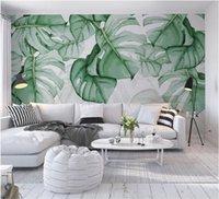 Personalizado Papel de Parede Mão Pintados Tartaruga-Shell De Volta Tropical Planta Foto Murais 3d Murais Murais Engrossar