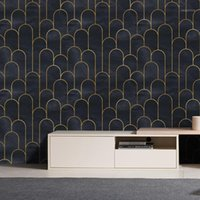 Removable Wallpaper | Peel and Stick Geometric Wallpaper | Self Adhesive Art Deco Vintage1