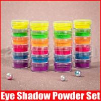 Trucco della polvere dell'ombretto 6 colori al neon occhio ombra, serie bellezza faccia Cosmetici nuovi occhi polvere calde 6pcs di trucco del corredo di arte del chiodo di DIY Polvere