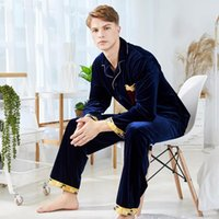 An agent hair autumn and winter gold velvet pajamas men'...