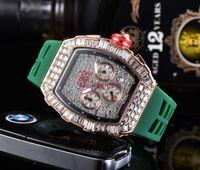 2020 Mens de Luxo Relógio Six Needle Series All Dials Work Quartz Watch Designer Relógios Marca Silicone Strap Moda Diamante Bezel