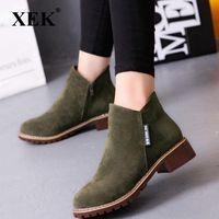 Xek Fashion Femmes Chaussures Bottes Automne Hiver Bottes Classiques Fermeture à glissière de Neige Neige Hiver Sude Femmes Chaussures Zll139