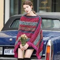 Maglioni da donna in stile europa nappe per ufficio lady strips casual donna maglia maglione manica lunga elegante mantello nappa geometrica femminile NS5441
