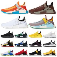 human race Venda quente raça humana Hu trilha x pharrell williams nerd homens correndo sapatos branco preto amarelo rendas mens formadores para as mulheres sports sneaker