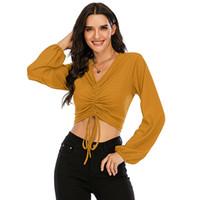 2020 Новые Женщины T Рубашки Леди Начало Твердые Треры Длинные Рубашки T Рубашки V Шея Сексуальные Тонкие Женские Осенние Топы для Женщины