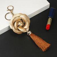 Новое Прибытие Camellia Кожаный Цветок с Кисточкой Цепочкой Key Goldow Мода Ключ Кольцо Женская Сумка Подвесной Автомобиль Keychain EH883 H JLLHRA
